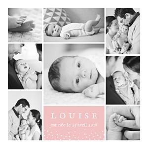 Faire-part de naissance rose souvenir étoilé 8 photos rose
