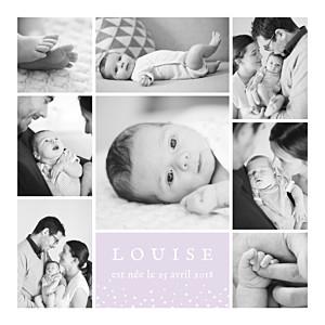 Faire-part de naissance violet souvenir étoilé 8 photos parme