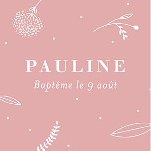 Etiquette de baptême Élégant feuillage rose