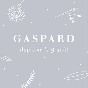 Etiquette de baptême Élégant feuillage gris