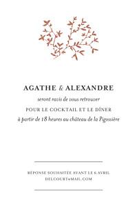 Carton d'invitation mariage Reflets dans l'eau rouge