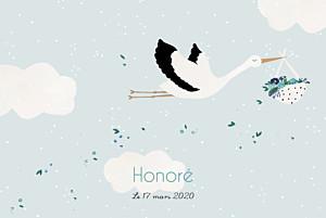 Faire-part de naissance Cigogne paysage bleu