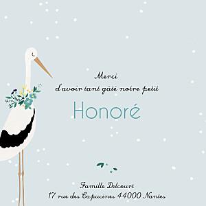 Carte de remerciement fille petite cigogne bleu