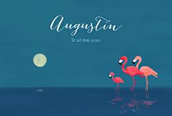 Faire-part de naissance original 3 flamingos (paysage) bleu