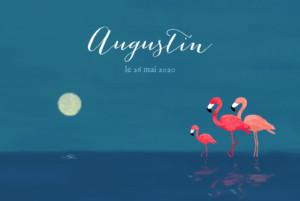 Faire-part de naissance 3 flamingos (paysage) bleu