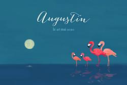 Faire-part de naissance 4 flamingos (paysage) bleu
