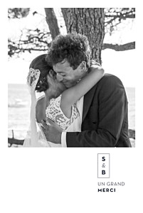 Carte de remerciement mariage vintage laure de sagazan (dorure) blanc