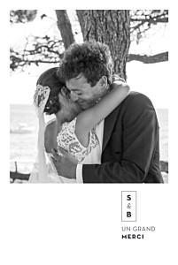 Carte de remerciement mariage bleu laure de sagazan (dorure) blanc