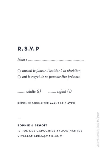 Carton réponse mariage Laure de sagazan (dorure) blanc