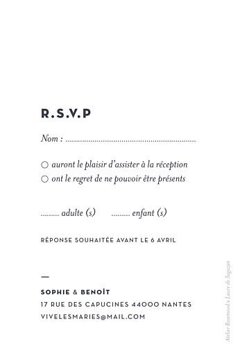 Carton réponse mariage Laure de sagazan (dorure) blanc - Page 2