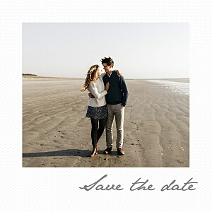 Save the date original petit polaroid blanc