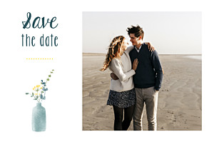 Save the date blanc bouquet sauvage jaune