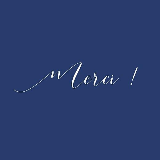 Carte de remerciement Merci son prénom (carré) bleu nuit