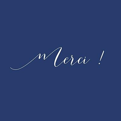 Carte de remerciement Merci son prénom (carré) bleu nuit finition