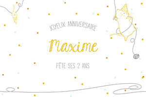 Carte d'anniversaire avec photo chat perché jaune