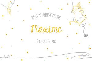 Carte d'anniversaire Chat perché jaune