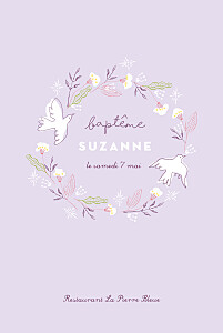 Menu de baptême blanc allégresse violet