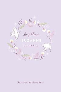 Menu de baptême violet allégresse violet