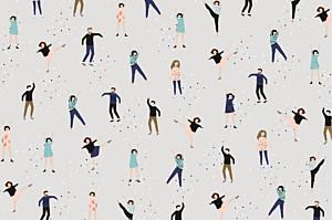Carte de correspondance Petits danseurs gris