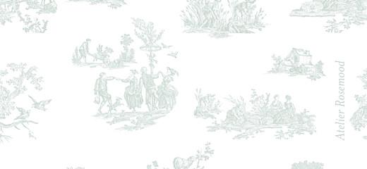 Etiquette de baptême Toile de jouy vert pâle - Page 2
