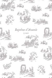 Menu de baptême Toile de jouy (4 pages) taupe