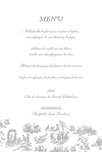 Menu de baptême Toile de jouy (4 pages) taupe - Page 3