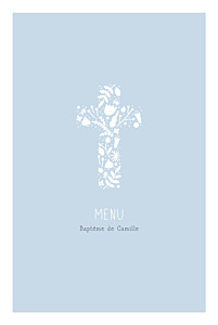 Menu de baptême Croix des champs bleu