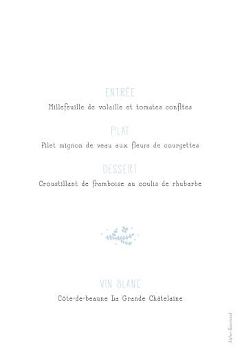 Menu de baptême Croix des champs bleu - Page 2