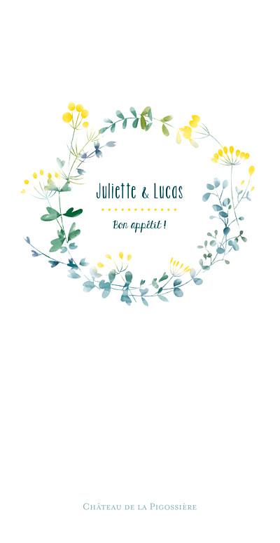 Menu de mariage Bouquet sauvage rv jaune finition