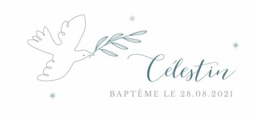 Etiquette de baptême Douce colombe bleu