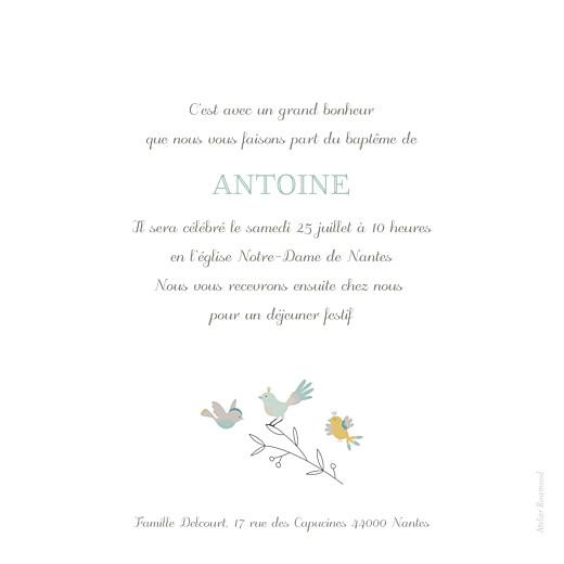 Faire-part de baptême Oiseaux multicolores vert - Page 2