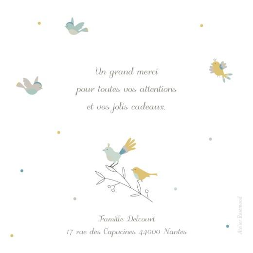 Carte de remerciement Merci oiseaux multicolores vert - Page 2