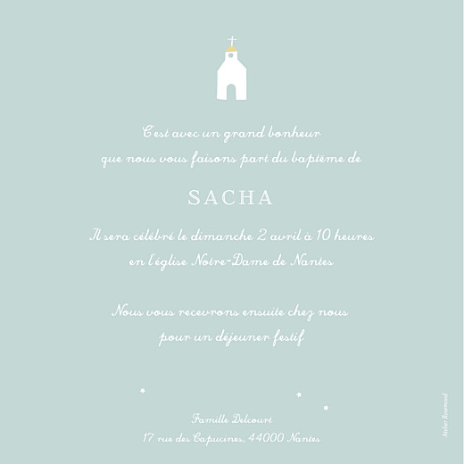 Faire-part de baptême Petit village bleu - Page 2