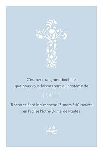 Faire-part de baptême avec photo croix des champs bleu