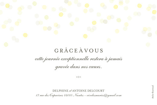 Carte de remerciement mariage Polka (dorure) blanc - Page 2