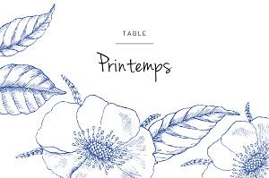 Marque-table mariage original gravure chic bleu