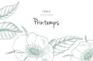 Marque-table mariage vert gravure chic vert