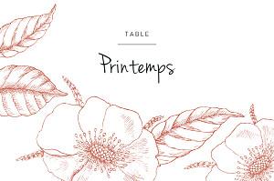 Marque-table mariage orange gravure chic rouge