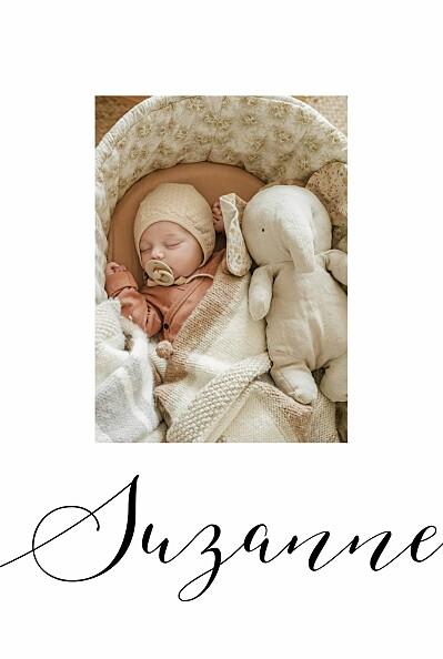 Faire-part de naissance Little big one 2 photos blanc finition