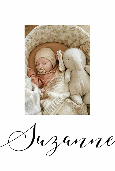Faire-part de naissance Little big one 2 photos blanc finition