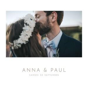 Faire-part de mariage Élégant photo blanc