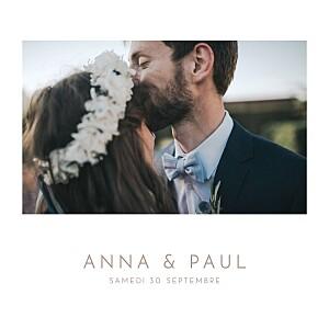 Faire-part de mariage avec photo élégant photo blanc