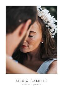 Faire-part de mariage blanc élégant photo portrait blanc