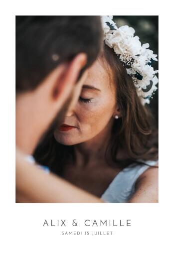 Faire-part de mariage Élégant photo portrait blanc