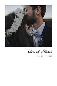 Faire-part de mariage avec photo un joli mot portrait blanc