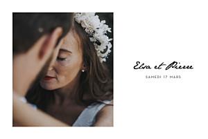 Faire-part de mariage avec photo un joli mot paysage blanc
