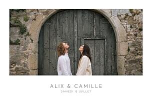 Faire-part de mariage mer élégant photo paysage blanc