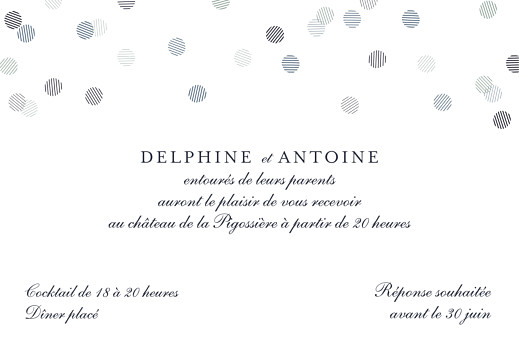 Carton d'invitation mariage Polka (dorure) canard - Page 2