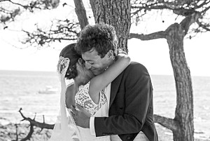 Carte de remerciement mariage bleu polka (dorure) encre