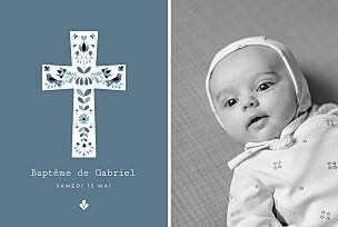 Faire-part de baptême bleu croix folk bleu